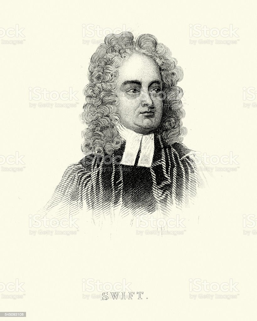 Portrait of Jonathan Swift vector art illustration