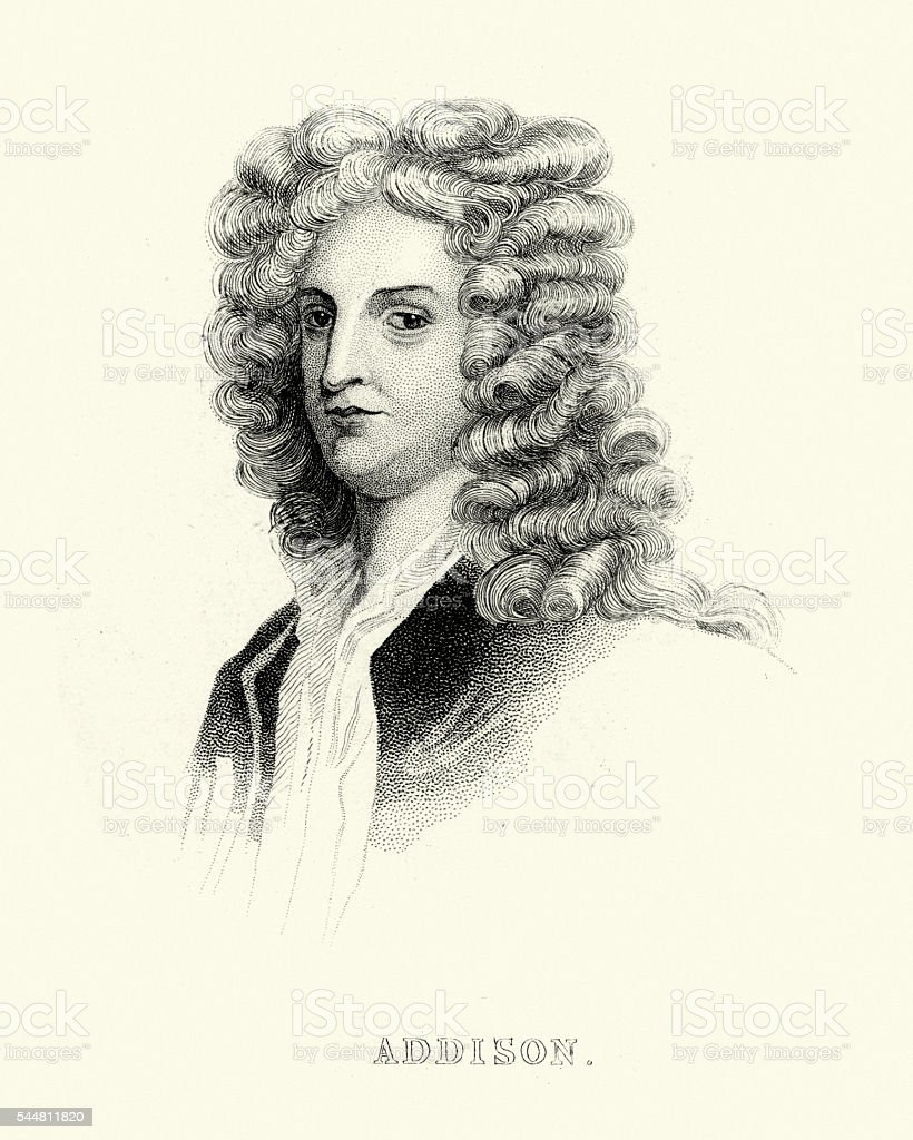 Portrait of Joseph Addison vector art illustration