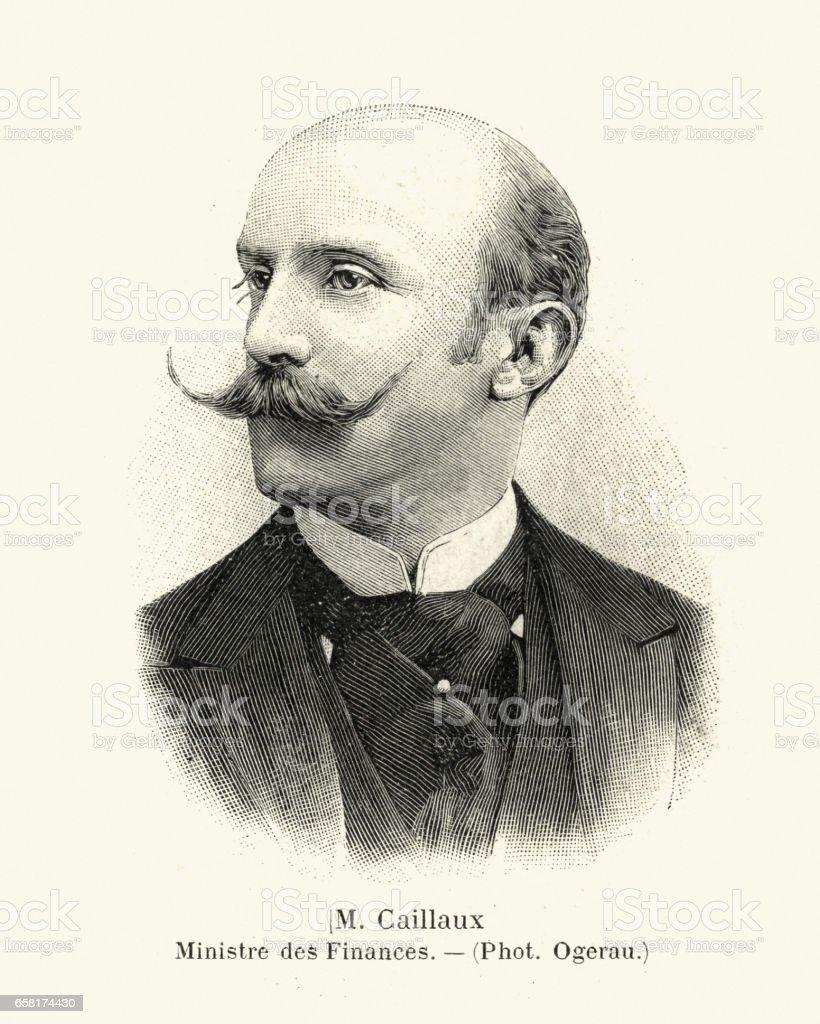 Portrait of Joseph Caillaux, 1899 vector art illustration