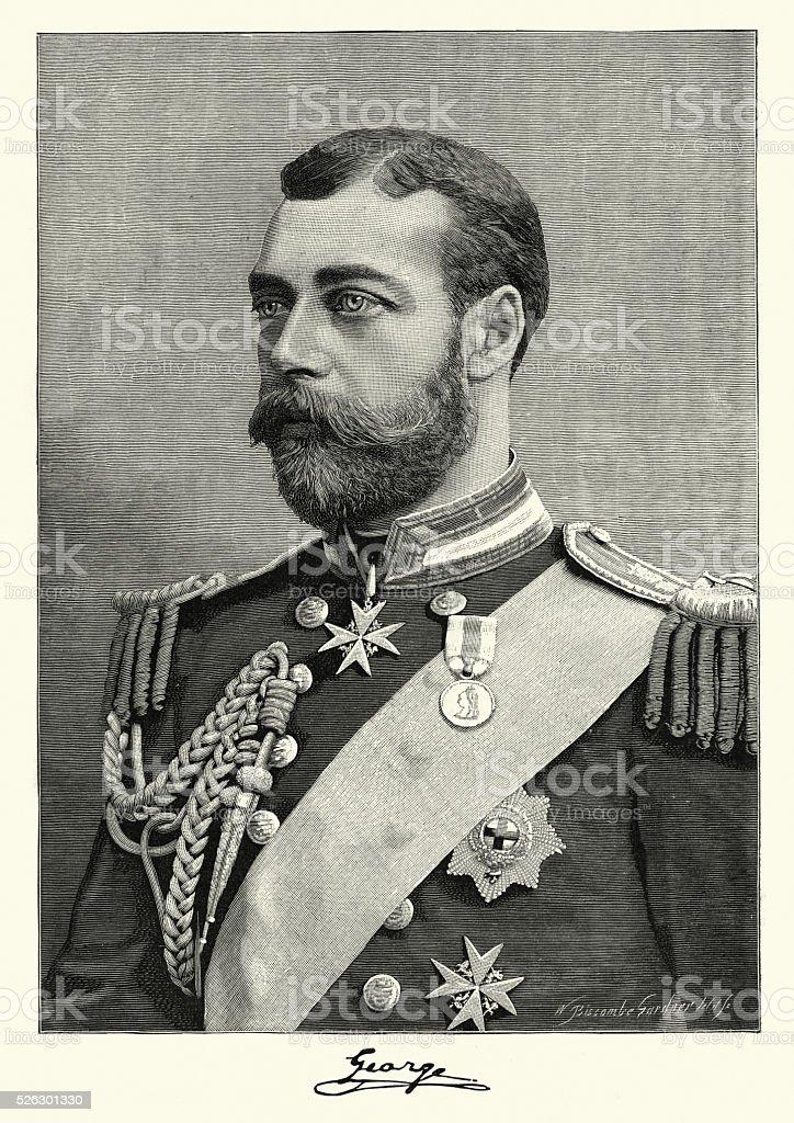 Portrait of King George V, 1892 vector art illustration