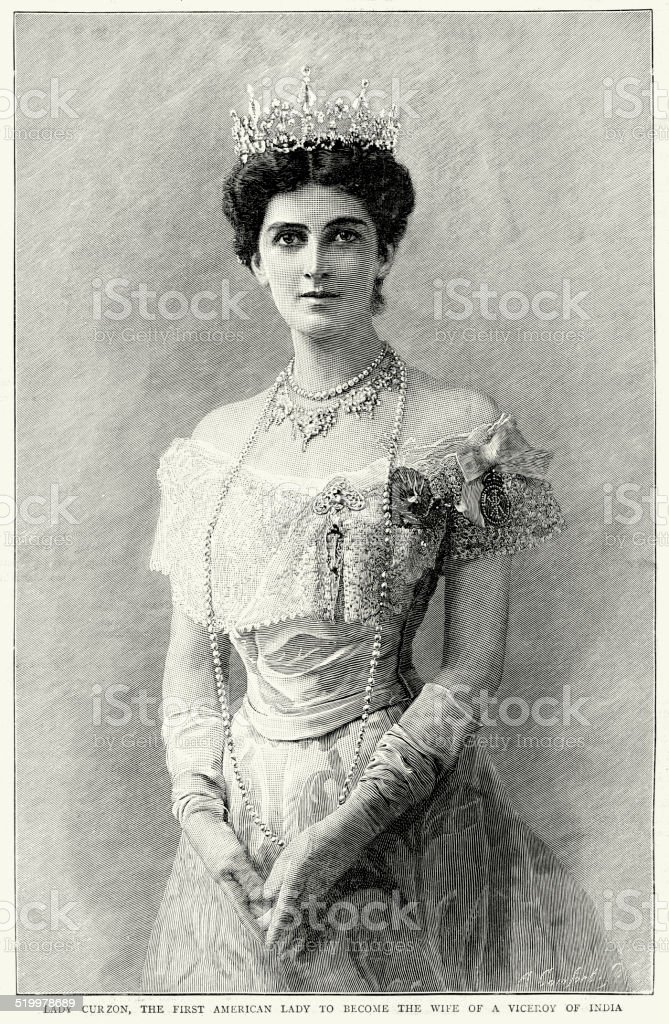 Portrait of Lady Mary Curzon vector art illustration