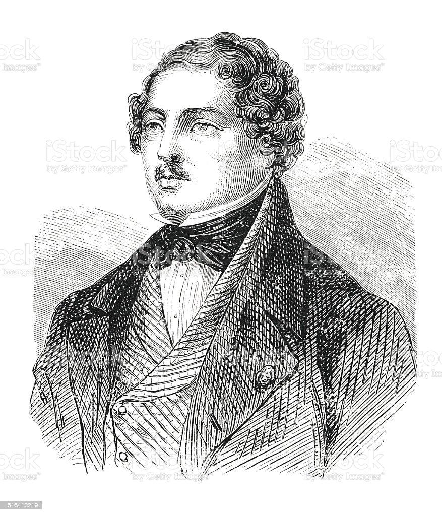 Portrait of Louis-Jacques-Mande Daguerre (engraving) vector art illustration