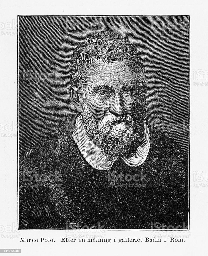 Portrait of Marco Polo Engraving, 1254-1324 vector art illustration