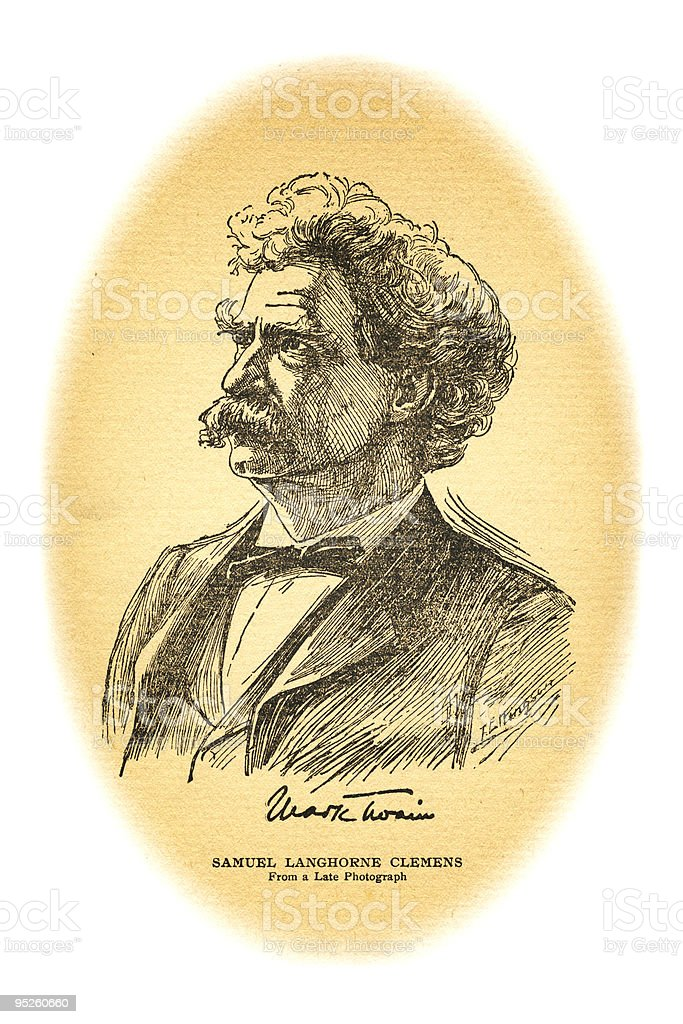 Portrait of Mark Twain royalty-free stock vector art