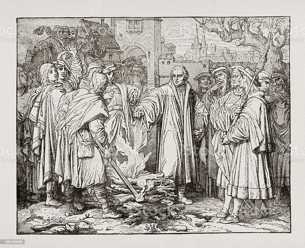 Portrait of Martin Luther burning popes Bull vector art illustration