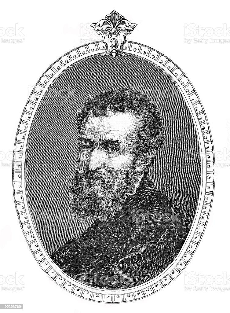 Portrait of Michelangelo vector art illustration
