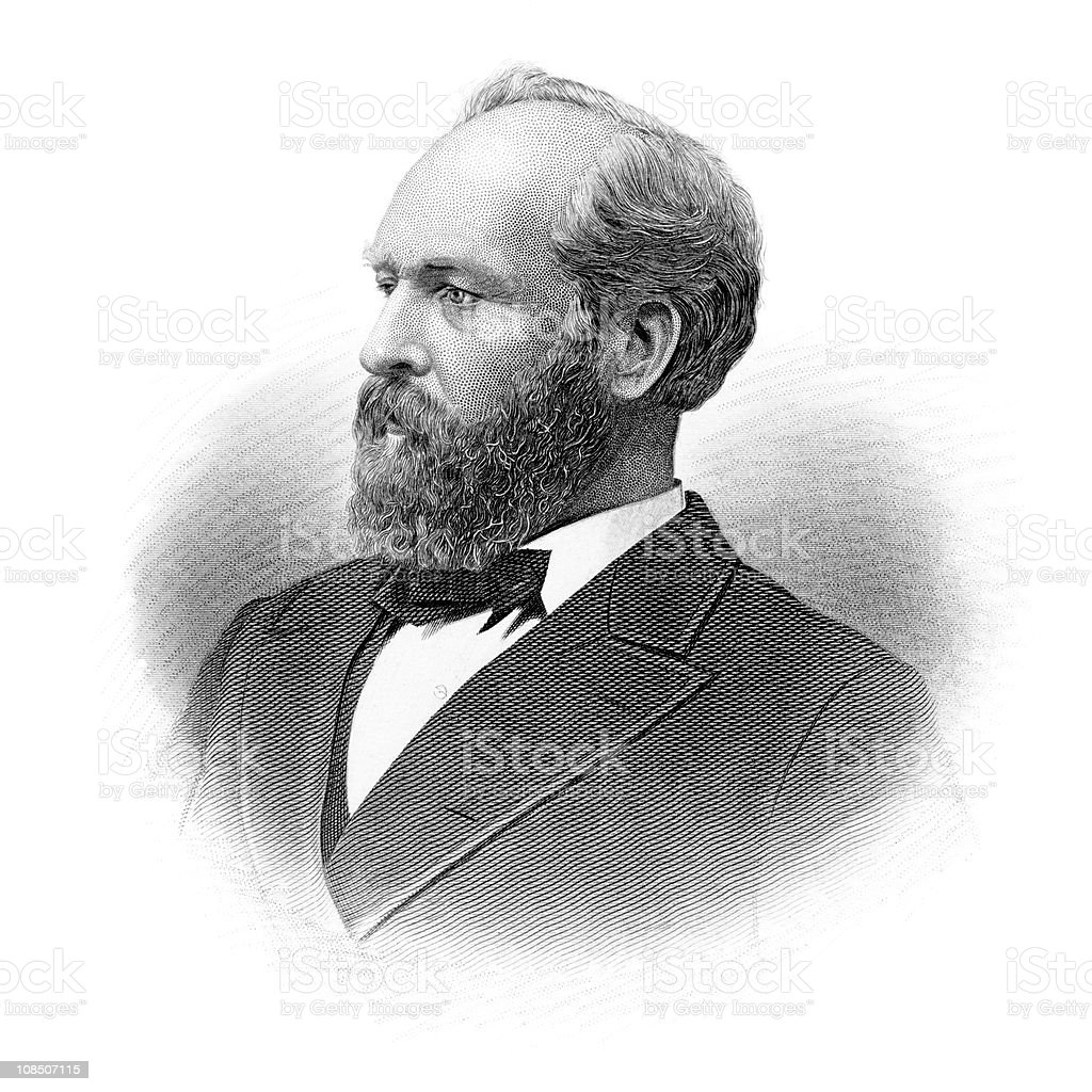 Portrait of President James A. Garfield royalty-free stock vector art