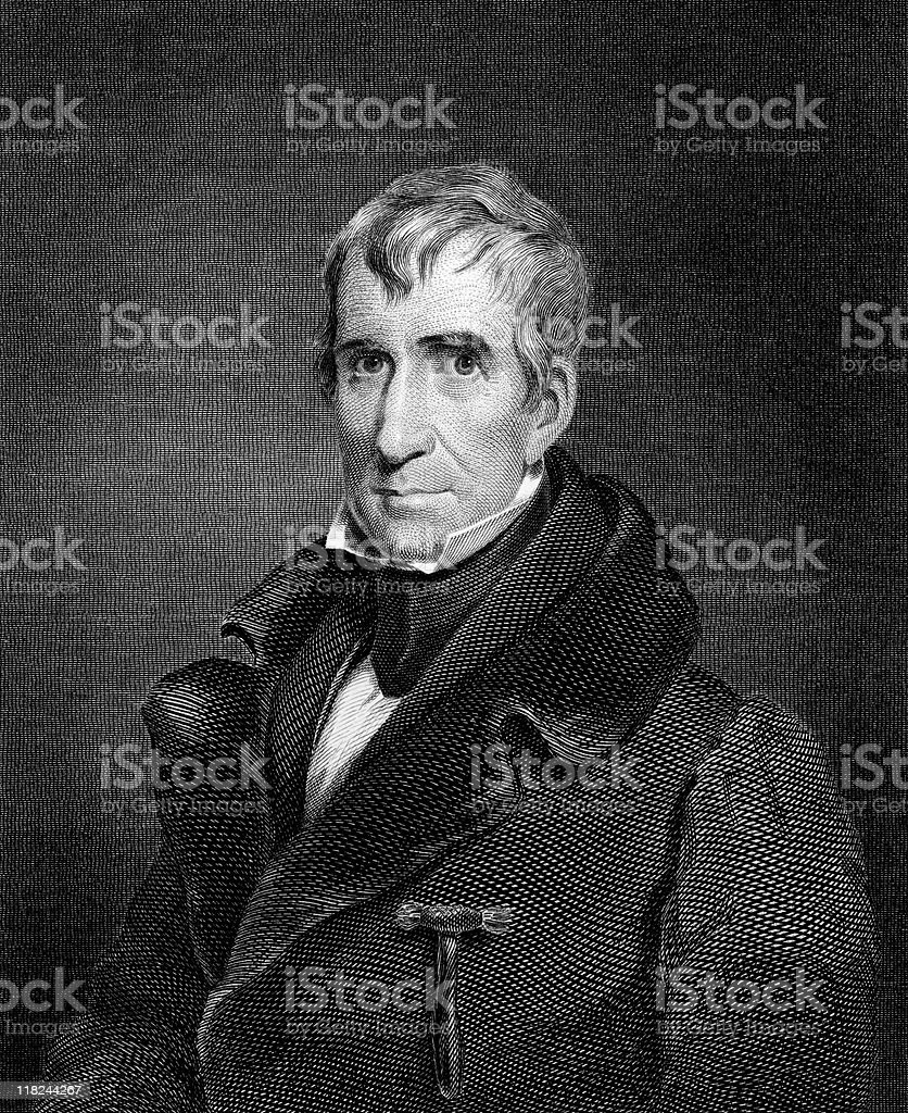 Portrait of President William Henry Harrison vector art illustration