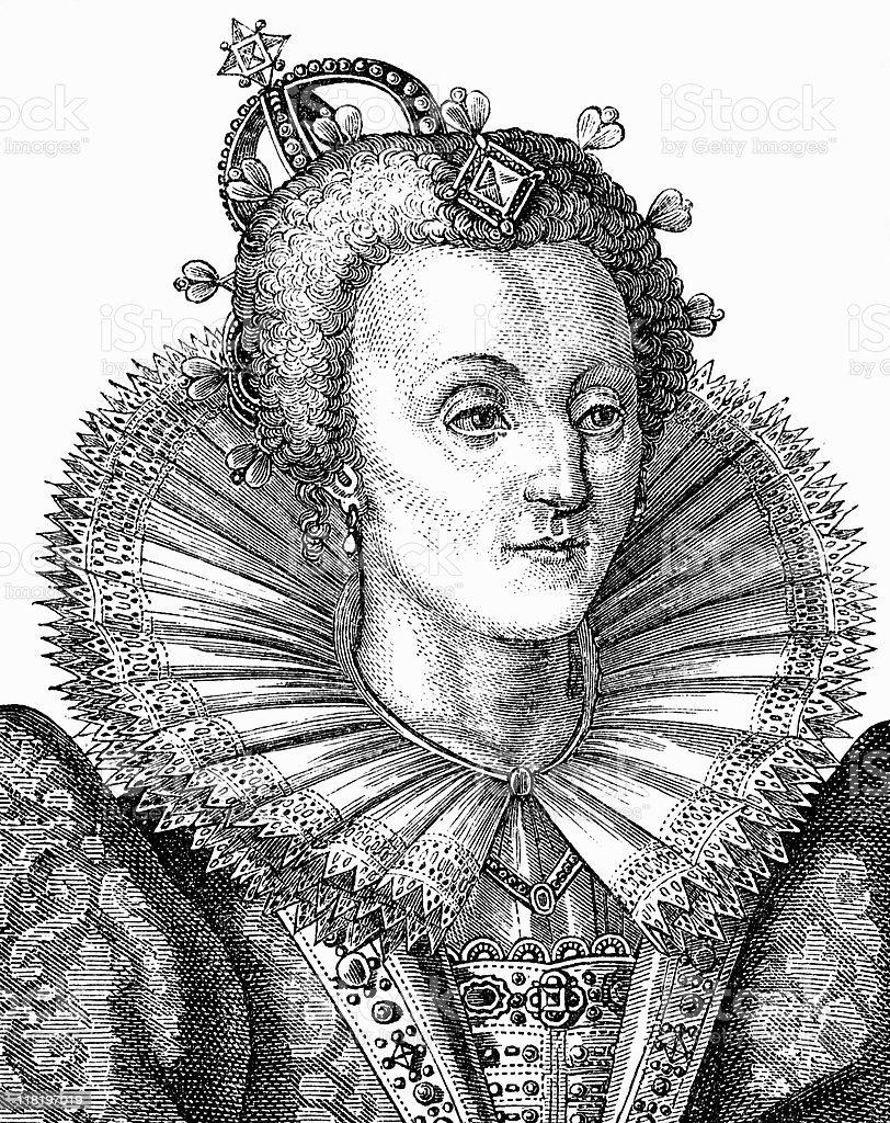 Portrait of Queen Elizabeth I royalty-free stock vector art