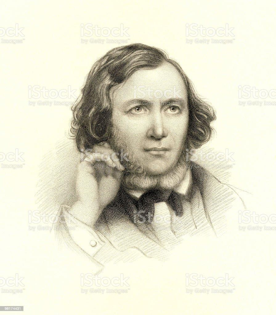 Portrait of Robert Browning vector art illustration
