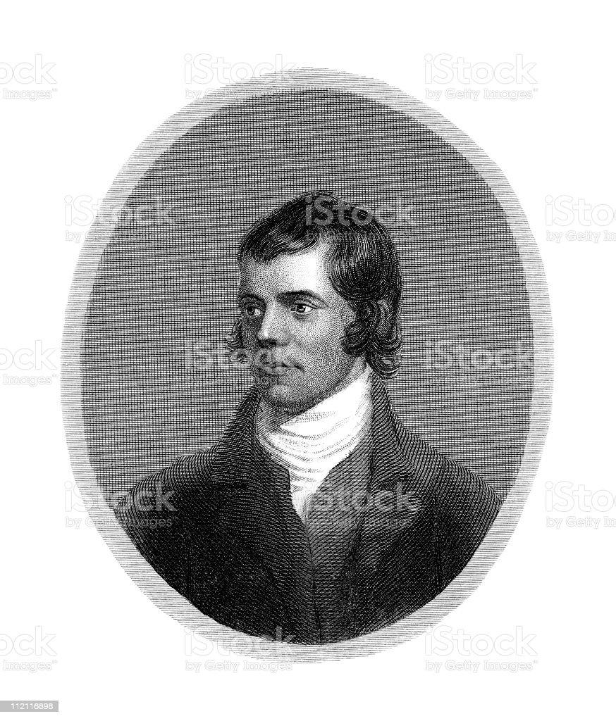 Portrait of Robert Burns, Poet royalty-free stock vector art