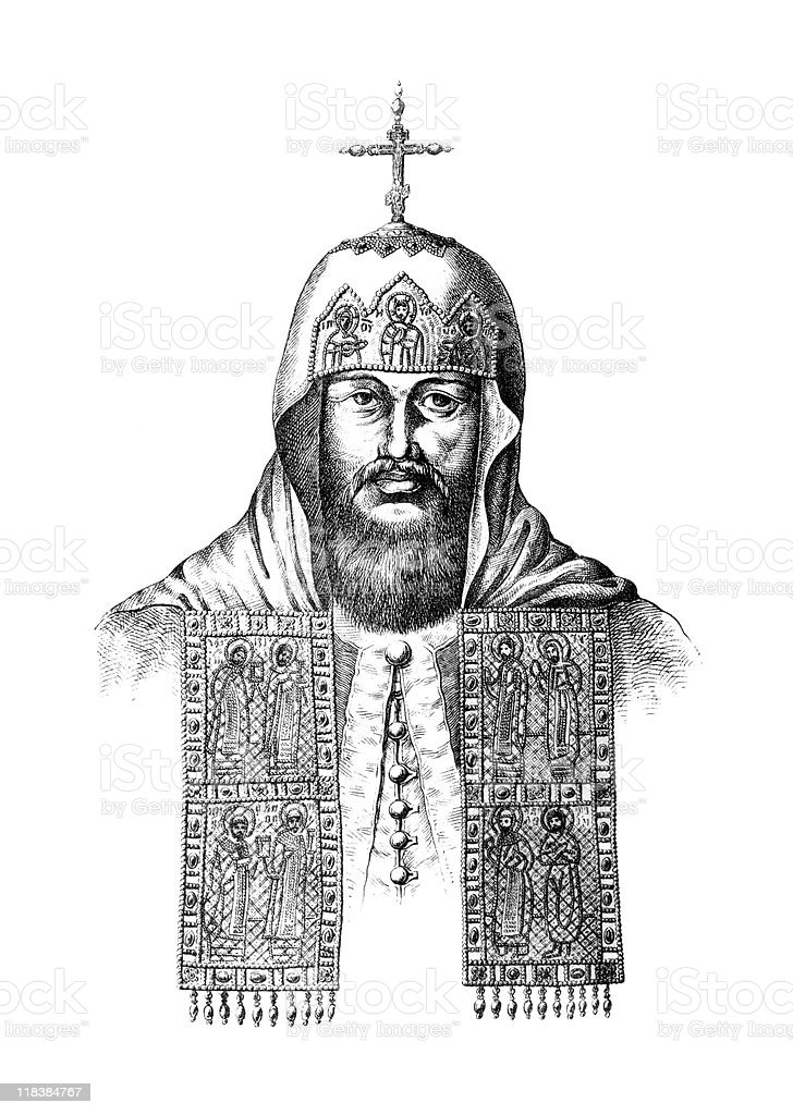 Portrait of Russian Patriarch Nikon royalty-free stock vector art