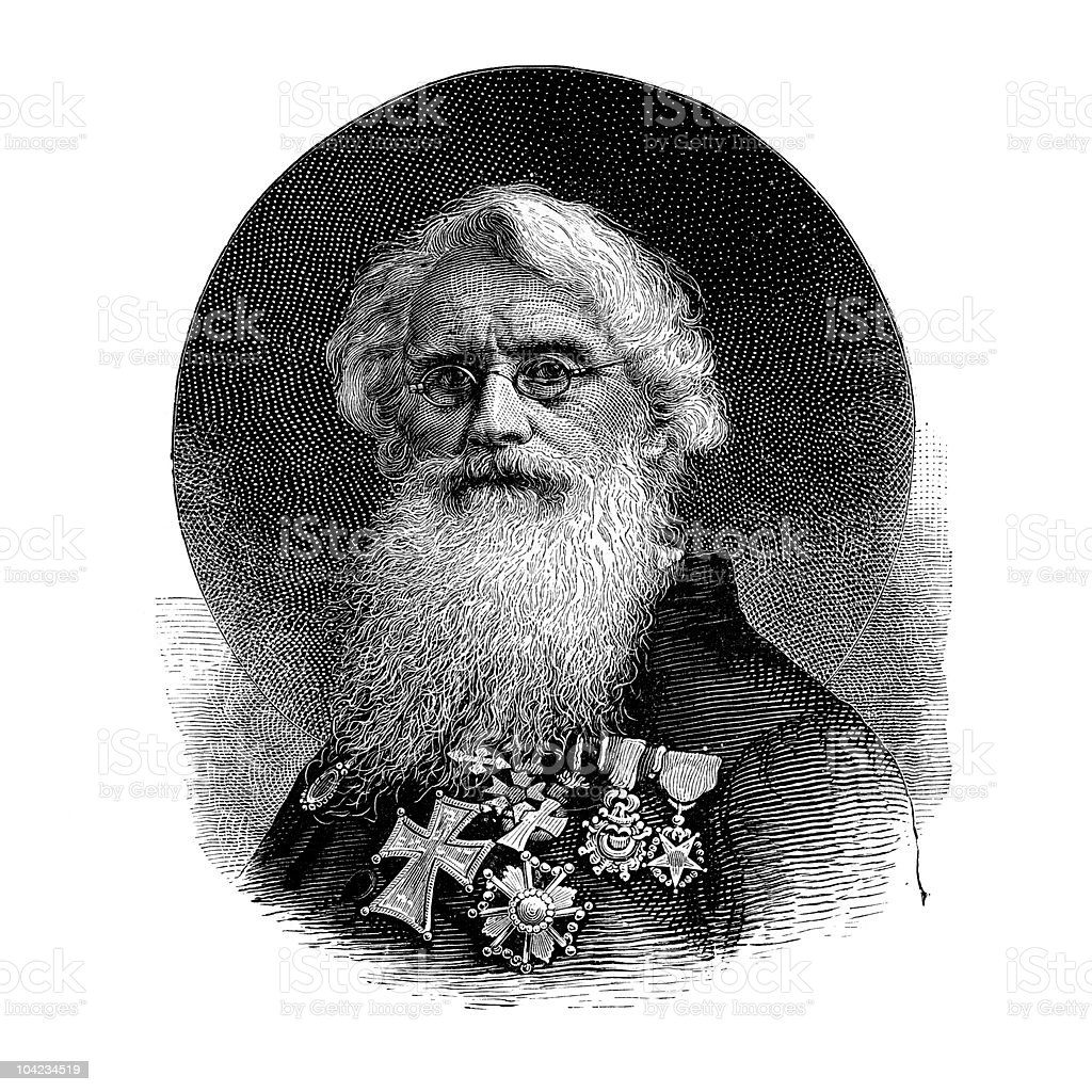 Portrait of Samuel Morse, 1866 royalty-free stock vector art
