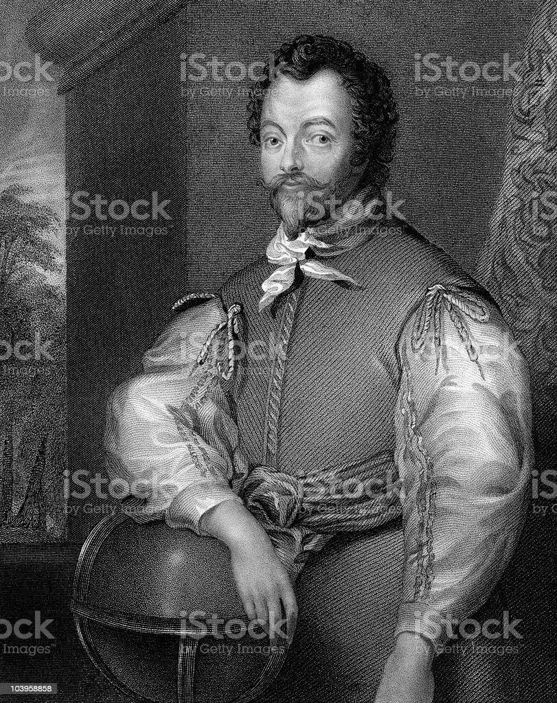Portrait of Sir Francis Drake royalty-free stock vector art