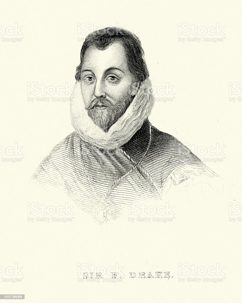 Portrait of Sir Francis Drake vector art illustration