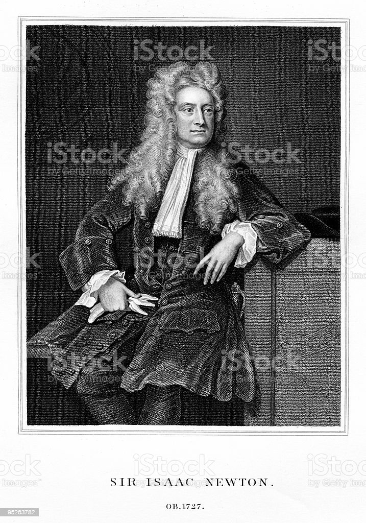 Portrait of Sir Isaac Newton royalty-free stock vector art