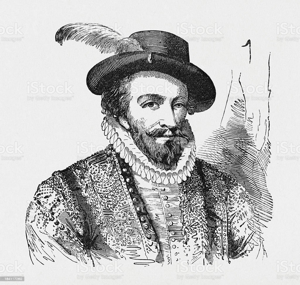 Portrait of Sir Walter Raleigh royalty-free stock vector art