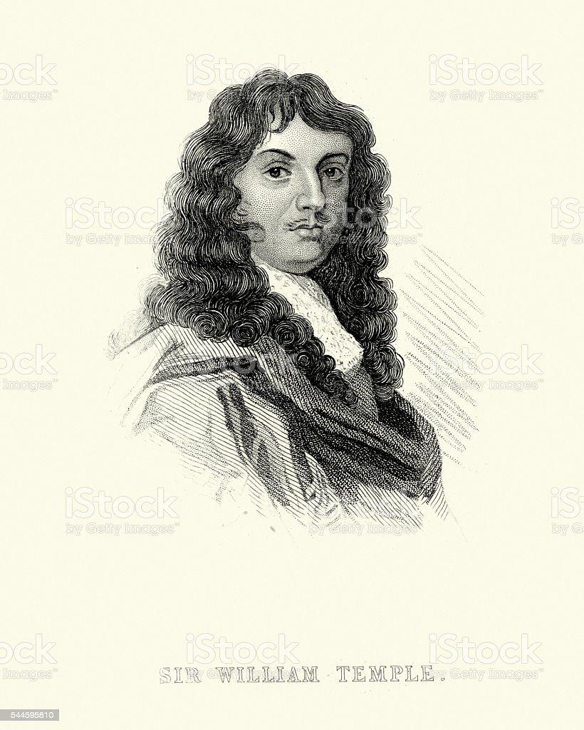 Portrait of Sir William Temple, 1st Baronet vector art illustration