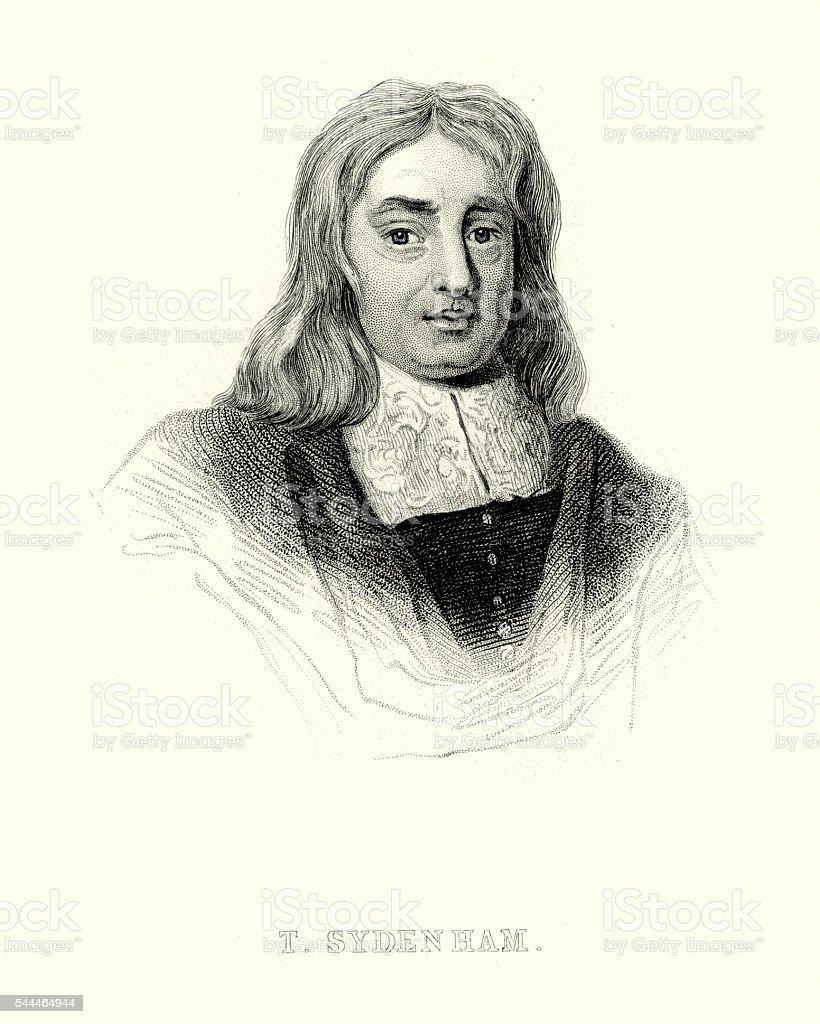 Portrait of Thomas Sydenham vector art illustration