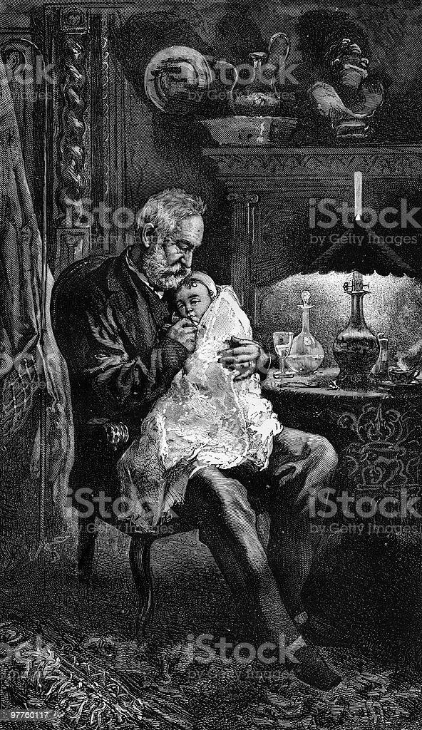 Portrait of Victor Hugo, Seated with Granddaughter Jeanne vector art illustration