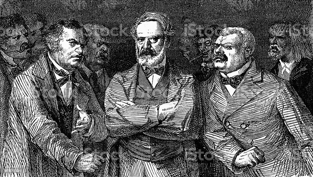 Portrait of Victor Hugo with Angry Men royalty-free stock vector art
