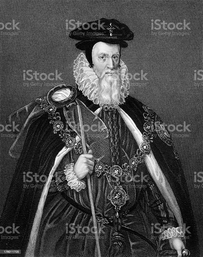 Portrait of William Cecil, 1st Baron Burghley royalty-free stock vector art