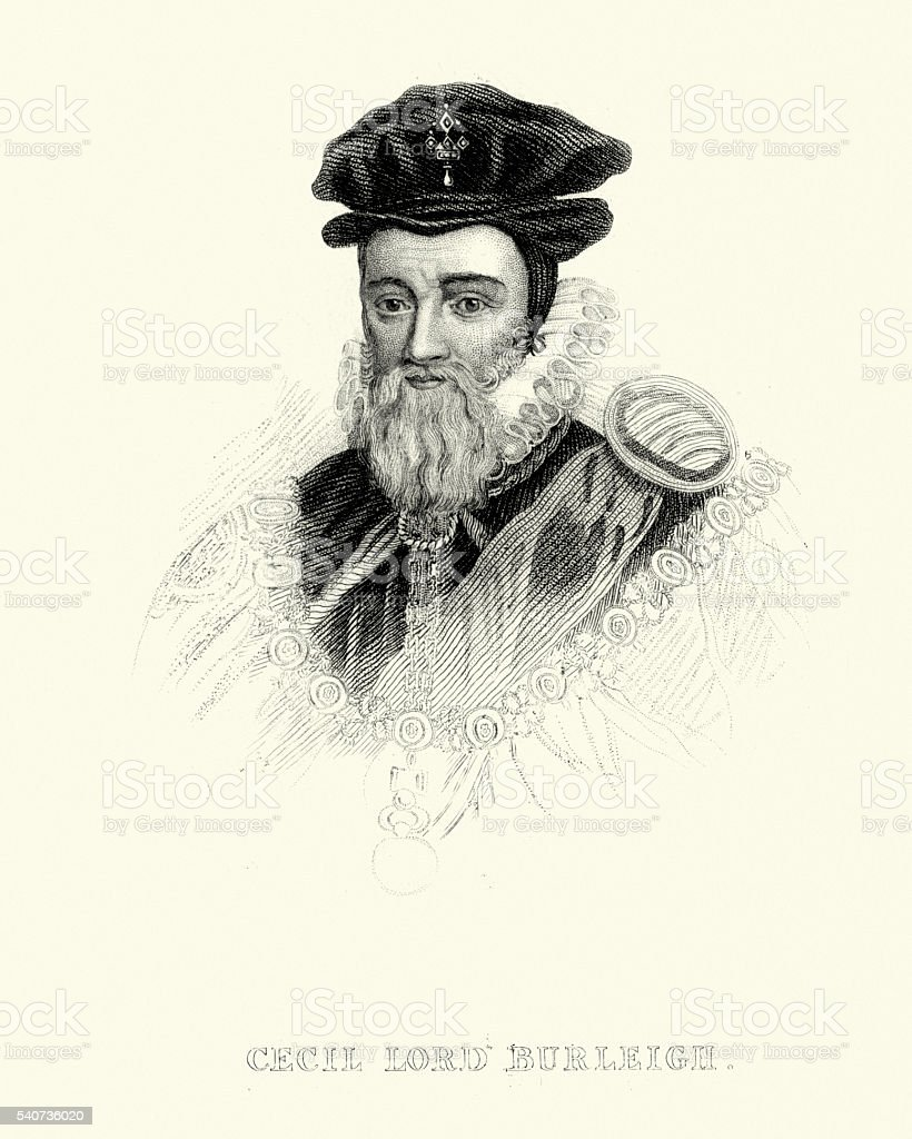Portrait of William Cecil, 1st Baron Burghley vector art illustration