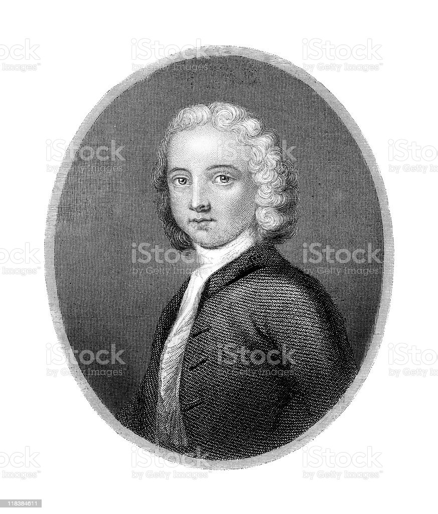 Portrait of William Collins, Poet royalty-free stock vector art