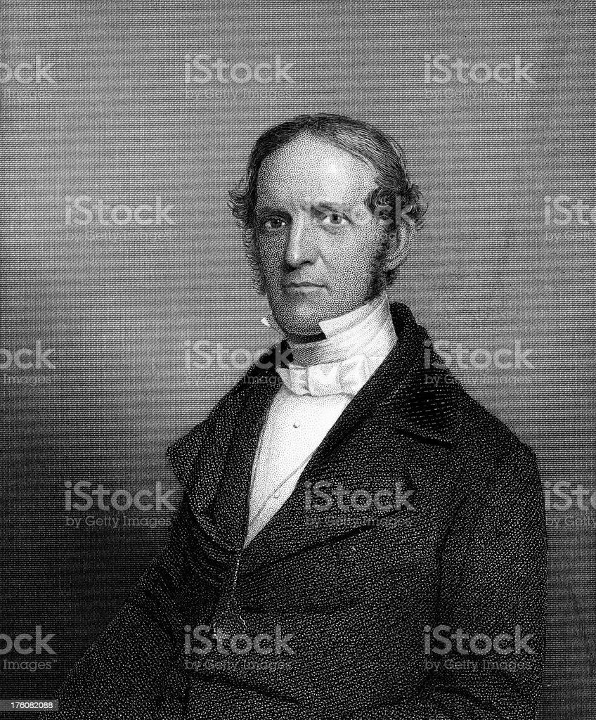 Portrait of William H. Prescott, Colonel at Bunker Hill royalty-free stock vector art