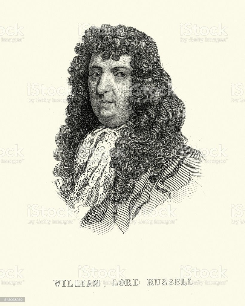 Portrait of William, Lord Russell vector art illustration