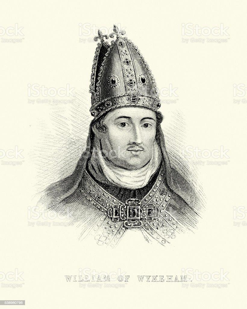 Portrait of William of Wykeham vector art illustration