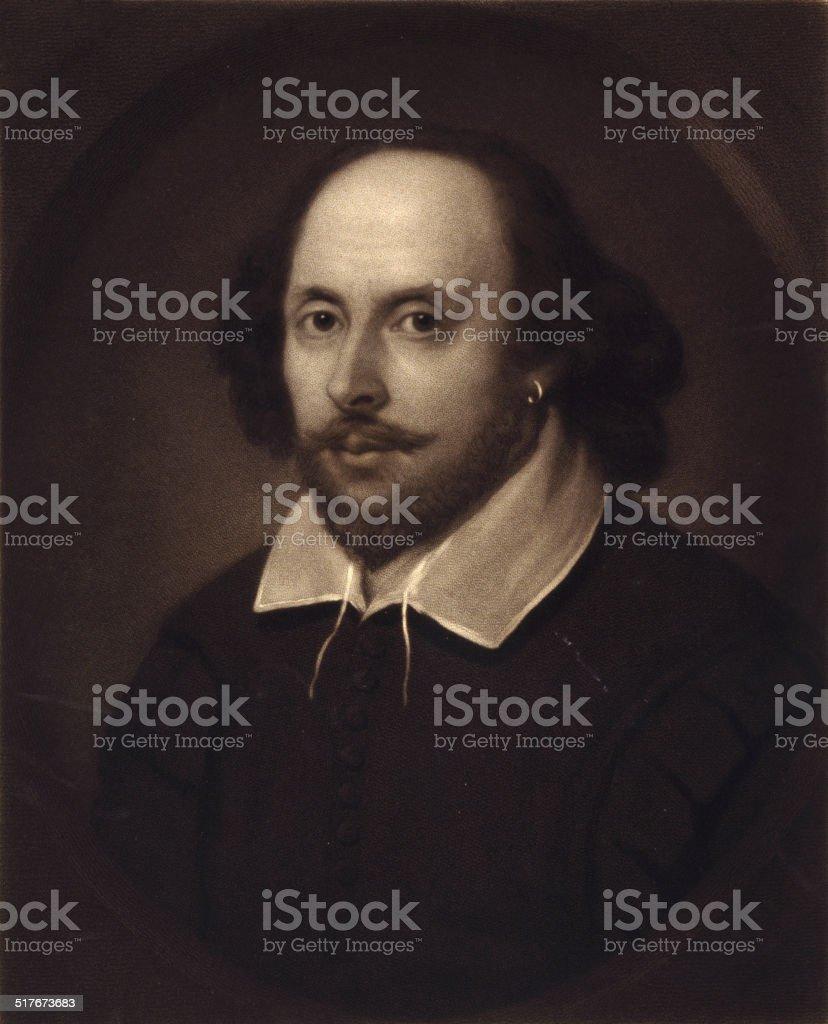 Portrait of William Shakespeare vector art illustration