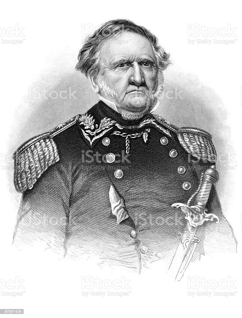 Portrait of Winfield Scott, 1864 royalty-free stock vector art