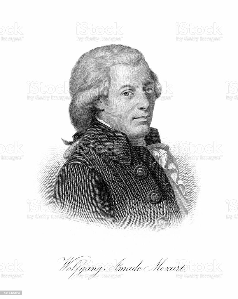Portrait of Wolfgang Amadeus Mozart, 1770 vector art illustration