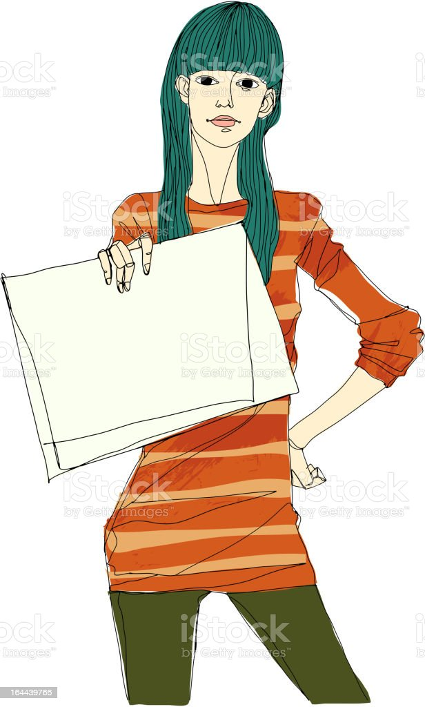 Portrait of young woman holding paper vector art illustration