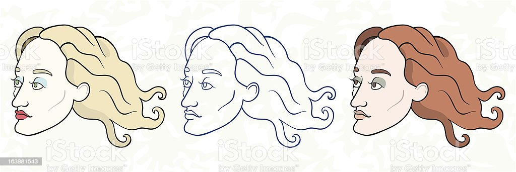 Portraits of a dreamily looking young woman royalty-free stock vector art