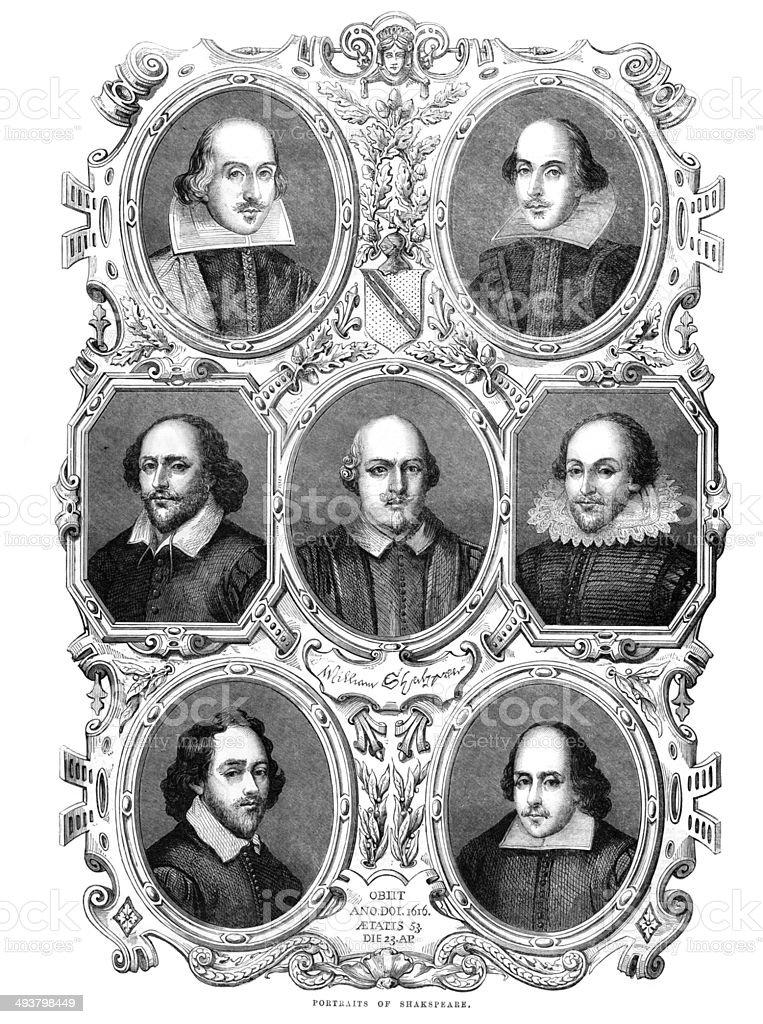 Portraits of William Shakespeare vector art illustration