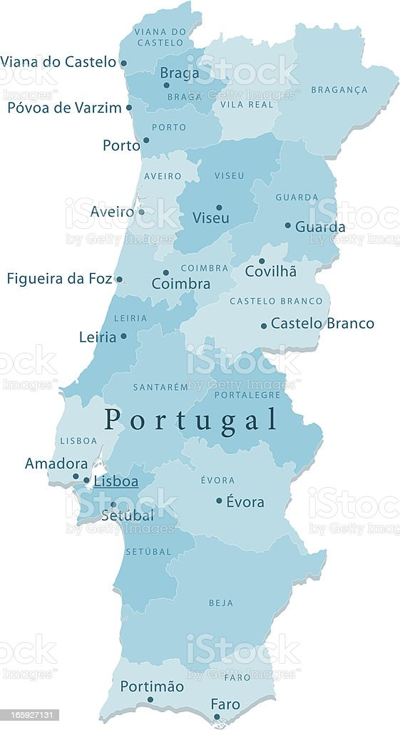 Portugal Vector Map Regions Isolated royalty-free stock vector art