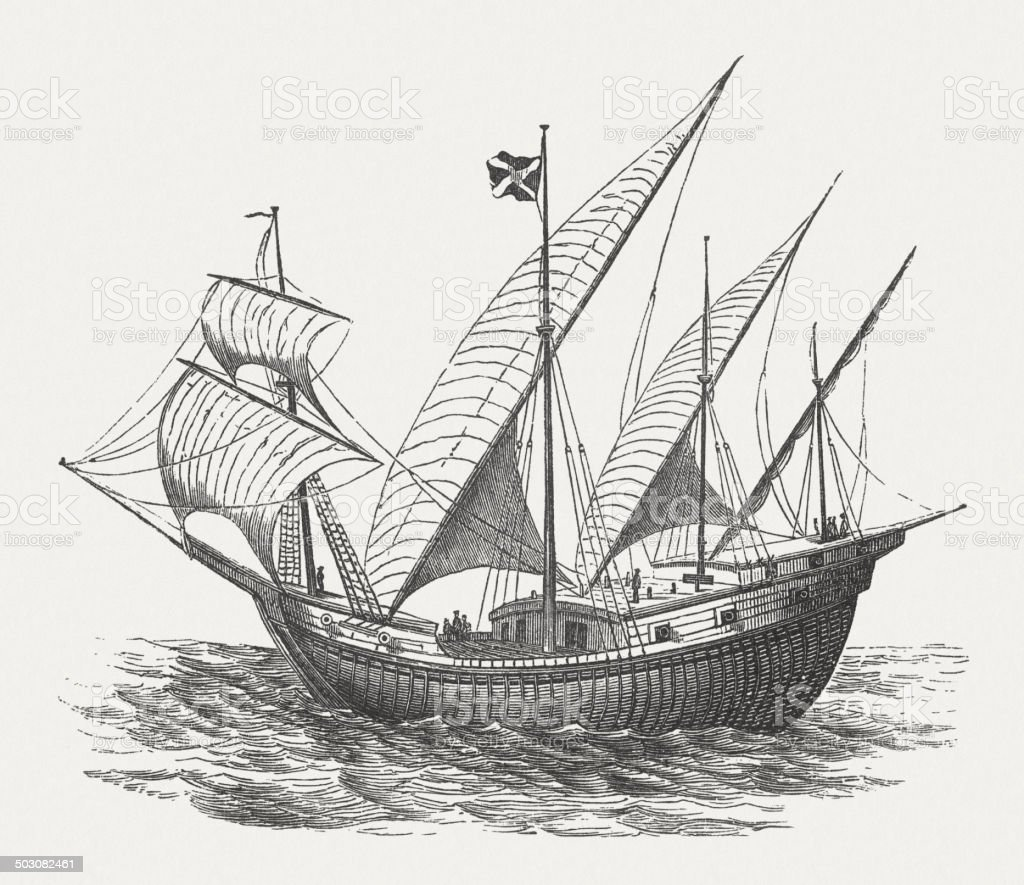 Portuguese ship from 15th century, wood engraving, published in 1880 royalty-free stock vector art