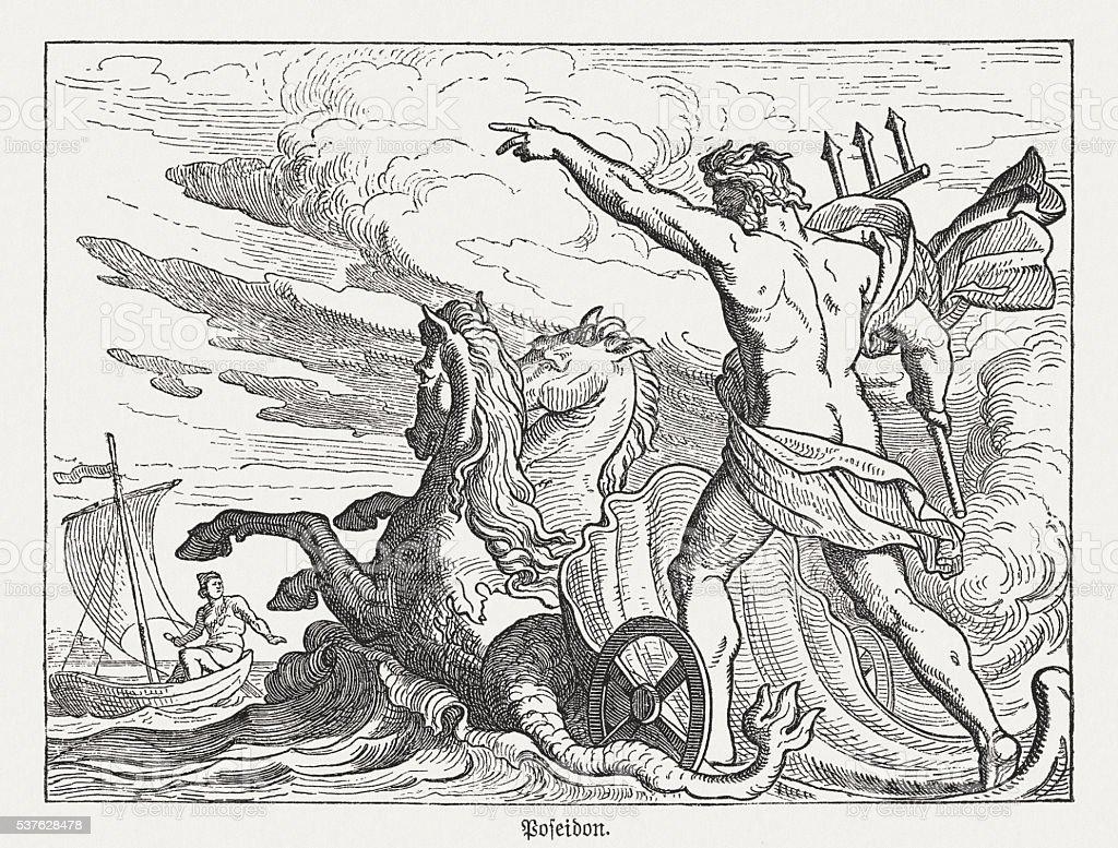 Poseidon, Greek mythology, wood engraving, published in 1880 vector art illustration