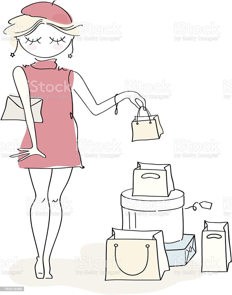 Posh lady doing shopping. vector art illustration