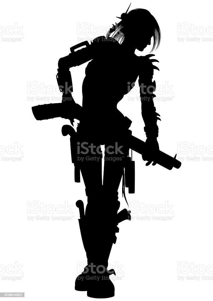 Post apocalyptic raider woman silhouette vector art illustration