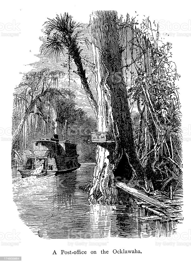 Post office on the Ocklawaha River, Florida royalty-free stock vector art