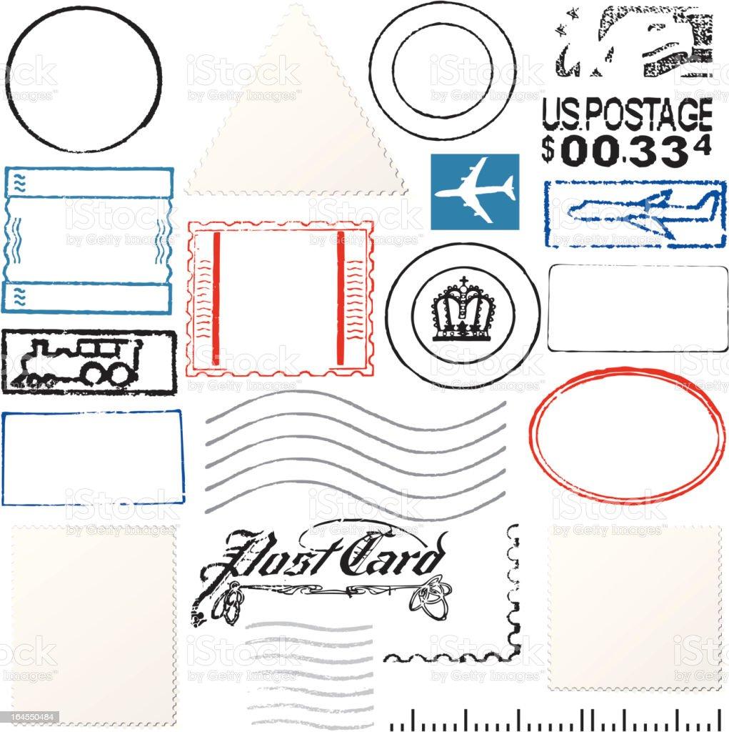 Postage Elements vector art illustration