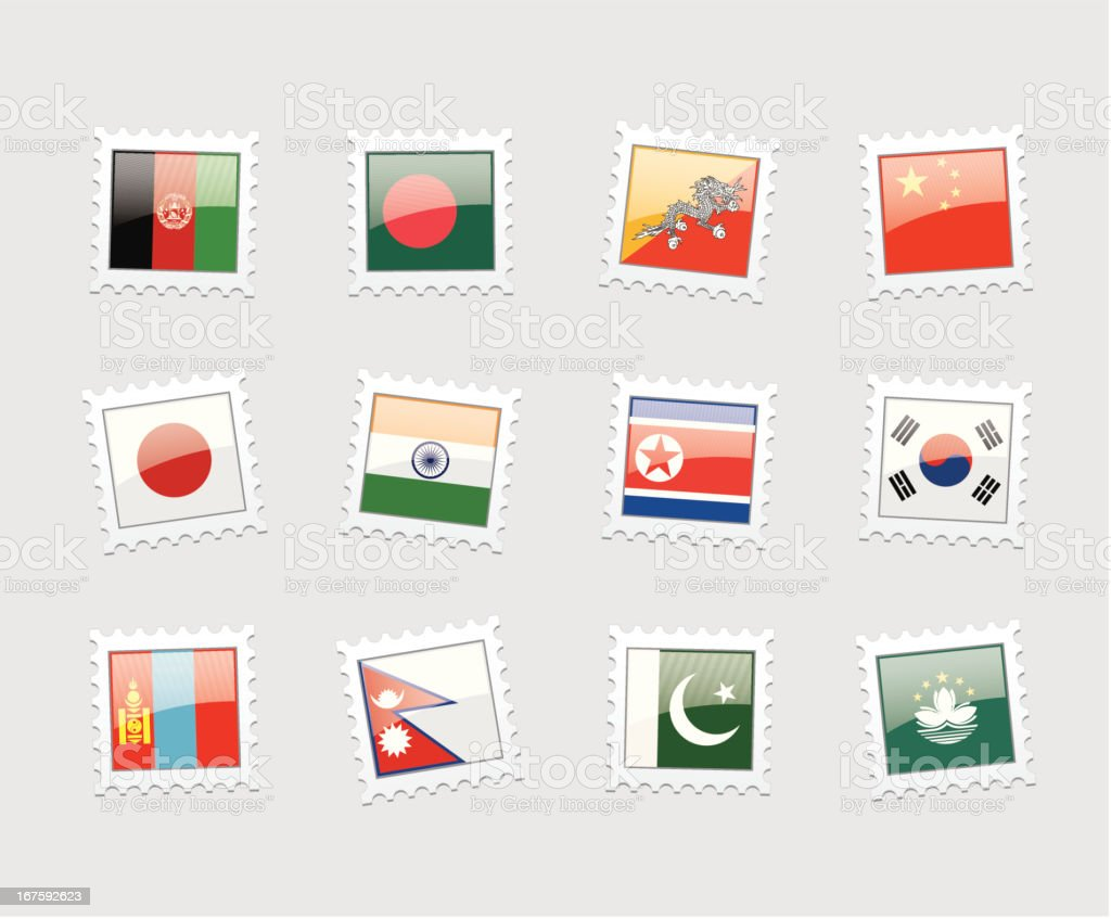 Postage Stamp Flags: Asia royalty-free stock vector art