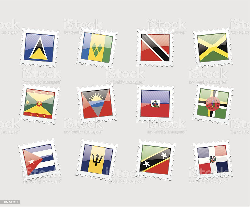 Postage Stamp Flags: Caribbeans vector art illustration
