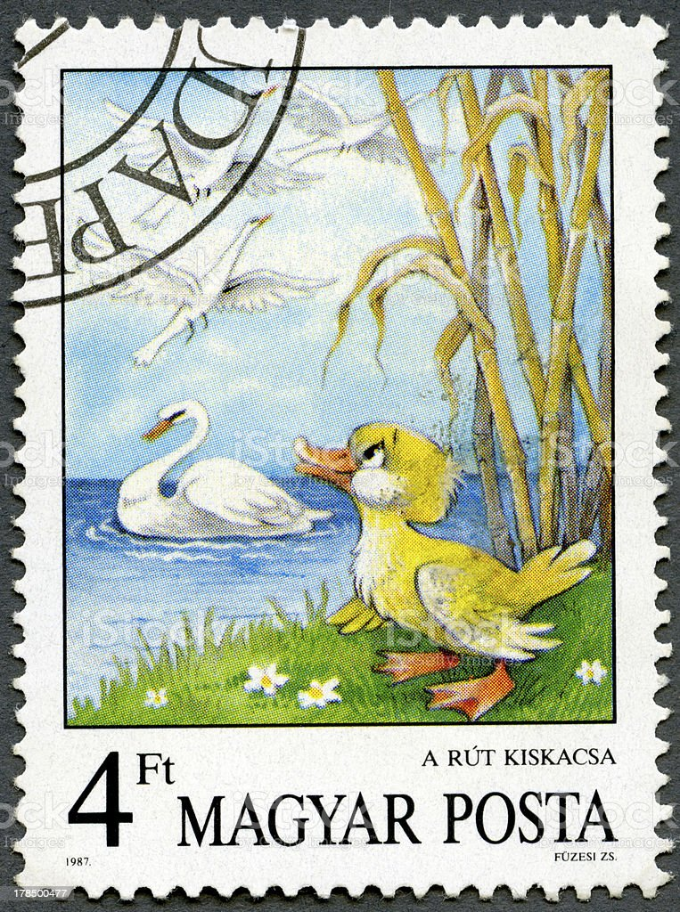 Postage stamp Hungary 1987 Ugly Duckling, Hans Christian Andersen vector art illustration