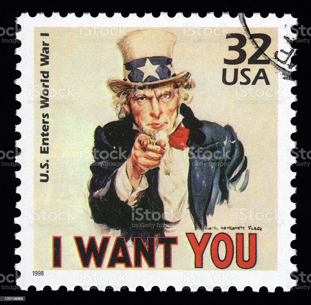 USA Postage Stamp Uncle Sam royalty-free stock vector art
