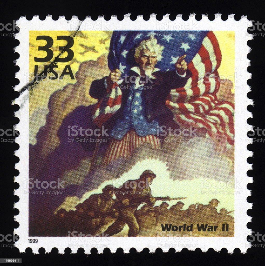 USA postage stamp World War 11 royalty-free stock vector art