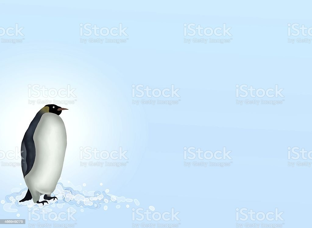 Postcard and Note Paper of A Penguin in Antarctica vector art illustration